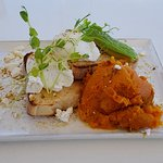 Smashed pumpkin with poached eggs and feta.