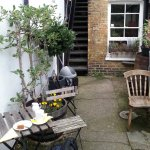 The rear garden, looking back to the shop
