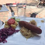 I ordered the Brat & Beer Special. It comes with a traditional kraut and cucumber, red cabbage,