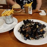 Moules Mariniere and the sweet potato and bean burger