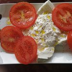 Fresh cheese with tomatoes