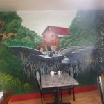 A mural in the back room of the cafe