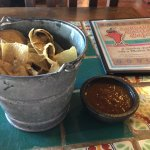 Welcome bucket of chips and salsa