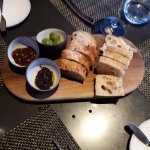 Bread plate with olives and spreads