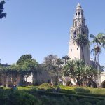 The iconic bell tower of Balboa Park is not accessible through the Musuem of Man