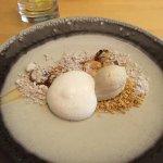 Banoffee mascarpone foam, caramelised bananas, toffee, granola, roast bananas ice cream