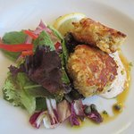Crab cake with side salad on appetizer menu but enough for a meal. Delicious