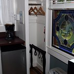 Part of the kitchenette at the Hale Lehua cottage at Hale Ohia Cottages