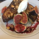 French toast, poached figs, hazelnuts