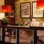 Our front desk, where you can buy canvas prints of our famous desert chef's!