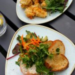 Smoked salmon and squid starters