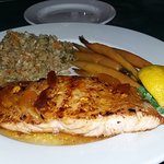 Salmon with peach glaze