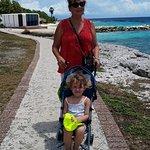 Along the walk bordering the beautiful, Caribbean Sea.