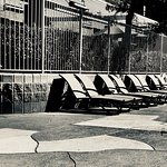 Pool chairs, in direct sun
