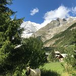 view from lawn towards Mont Blanc
