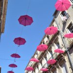 Sete City centre decorated with parasols
