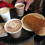 Hot chocolate with Ham and cheese toastie, also latte and filter coffees