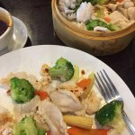 Steamed chicken and vegetables and won ton soup