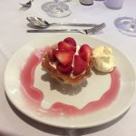 Brandy snap basket - chantille cream and clotted cream with strawberries.