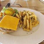 Coastal chicken burger with seasoned fries