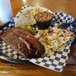 Combo Plate with one meat (spare ribs), two sides (Cole Slaw, Baked Beans)