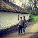 Me and my son outside one of the little house.