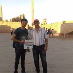 at Karnak temple with Mr Mohamed our tour guide