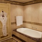 Massive bath, big shower with folding seat, and double basin