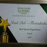 We ve just been voted Best Sports Experience Irish Bar in Europe,thanks to everyone that left us
