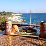 Beers with olives, cheese and the Adriatic