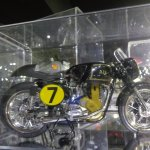 Lots of scale models in display cases. AJS 7R here.
