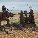 """a wonderful """"work of art"""" on Dungeness beach (a rusting winding engine!)"""