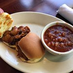 Here are BBQ Tri-Tip sliders and beans