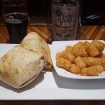 Buffalo Chicken Wrap and tator tots- perfect with beer