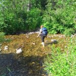 Crossing a creek on Ochre River Trail.