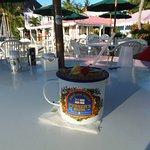 Pusser's Painkiller in souvenir tin cup, West End, Tortola