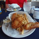 Fish 'n chips at Pusser's West End, Tortola