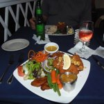 Crab cakes dinner at Pusser's West End, Tortola