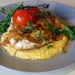Roasted chicken breast with smoked carrot polenta