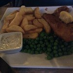 Beer battered cod, chips and peas