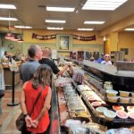 Lots of cheese selections and free samples