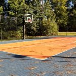 Half-court basketball area