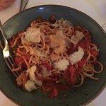 Spaghetti ai Frutti di Mare- clams, squid, capers, prawns, anchovies, marinara sauce ($28)