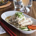 Boneless Hainan Chicken - A succulent Steam Chicken Thigh cut into bite-size pieces with Bean sh