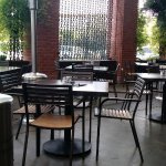 Heaters all over the patio for chilly weather.