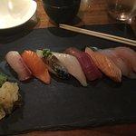 Nigiri sushi with generous ginger