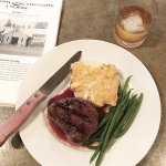 Bison steak with string beans and au gratin - got it medium rare