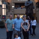 Family in front of statue