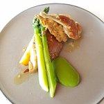 Jurassic quail, asparagus, witlof, wattle seed
