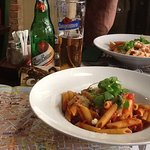 Lovely pasta and a cool non alchi larger